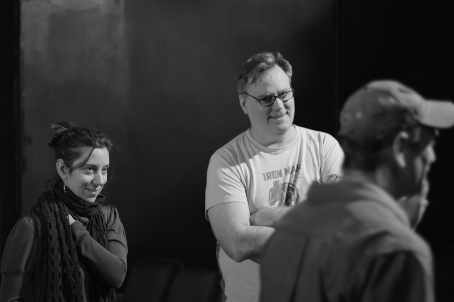 Katie McHugh and Stephen Bittrich direct the scene in progress.